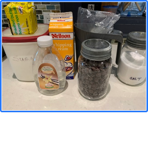 Picture of the ingredients in their containers.