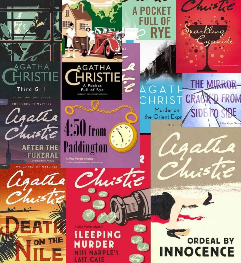 A collage of ten different covers from Agatha Christie novels.